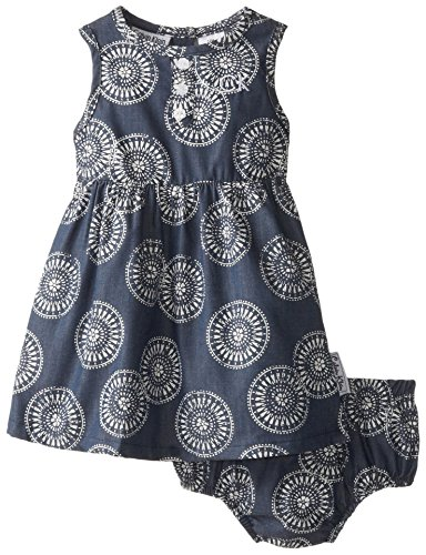 0883608659272 - CALVIN KLEIN BABY GIRLS' PRINTED WOVEN CHAMBRAY DRESS WITH PANTY, BLUE, 18 MONTHS