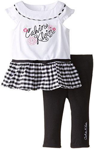 0883608661619 - CALVIN KLEIN BABY GIRLS' WHITE TOP WITH BLACK PANTS, BLACK/WHITE, 24 MONTHS