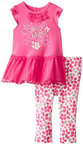 0883608661626 - CALVIN KLEIN BABY GIRLS' TUNIC WITH PRINTED LEGGINGS, PINK, 12 MONTHS