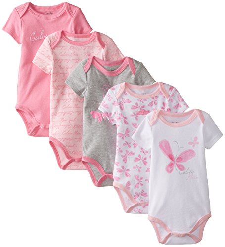 0883608946273 - CALVIN KLEIN BABY-GIRLS NEWBORN 5 PACK BODYSUITS PINK GREY WHITE GROUP, MULTI, 6