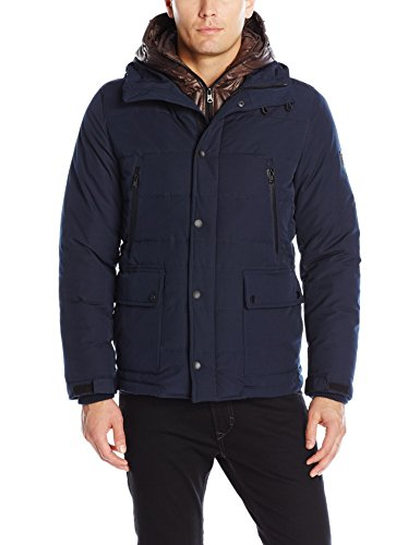 0883661711597 - LONDON MEN'S FAILLE FLY FRONT PARKA WITH DOUBLE HOOD, MIDNIGHT, XL