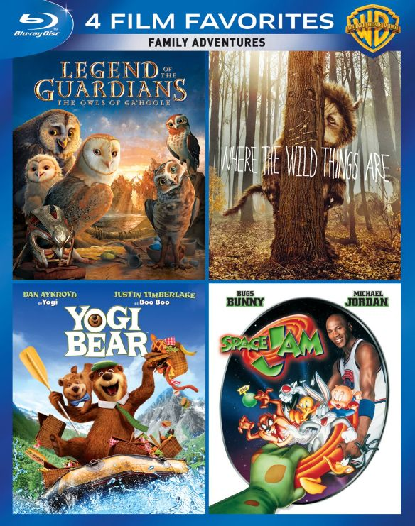 0883929343171 - 4 FILM FAVORITES: FAMILY ADVENTURES: LEGEND OF THE GUARDIANS - THE OWLS OF GA'HOOLE / WHERE THE WILD THINGS ARE / YOGI BEAR / SPACE JAM (BLU-RAY) (WIDESCREEN)