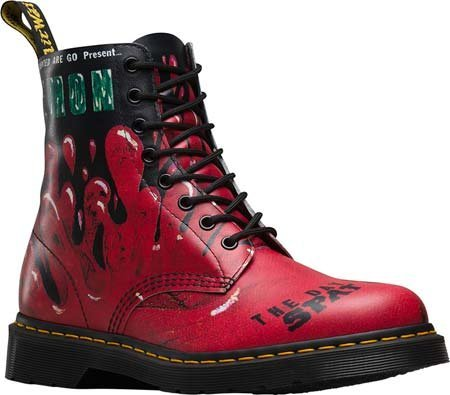 0883985884687 - DR. MARTENS PASCAL 8 EYE BOOT,RED DEMENTED ARE GO BACKHAND,UK 8 M