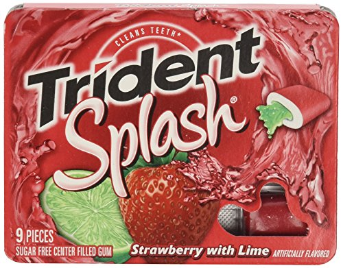 0885278536068 - TRIDENT SPLASH SUGAR FREE GUM, STRAWBERRY - LIME, 9-COUNT (PACK OF 10)