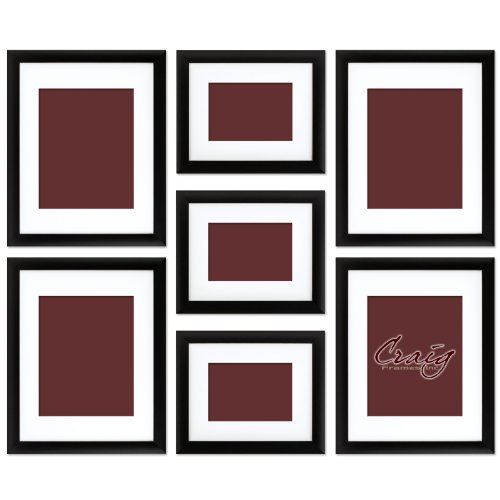 0885421047335 - CRAIG FRAMES 1WB3BK PICTURE FRAME 7-PIECE WALL SET, BLACK FRAMES, WHITE DISPLAY MATS