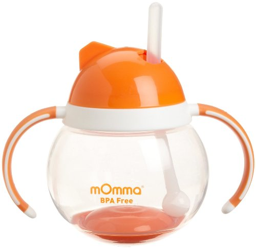 0885544689788 - LANSINOH MOMMA STRAW CUP WITH DUAL HANDLES, ORANGE