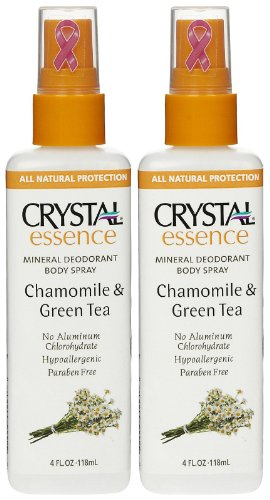 0885662215128 - CRYSTAL ESSENCE DEODORANT SPRAY, CHAMOMILE & GREEN TEA, 4 OZ, 2 PACK