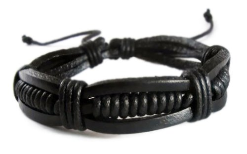8859098623910 - BLACK RETRO ZEN BRACELET / LEATHER BRACELET / LEATHER WRISTBAND / SURF BRACELET / TRIBAL BRACELET / HEMP BRACELET ADJUSTABLE SIZE, FOR MEN, WOMEN, BOYS AND GIRLS, TEEN (RTB008)
