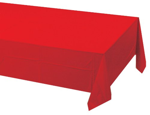 0885946745273 - CREATIVE CONVERTING TOUCH OF COLOR PLASTIC LINED TABLE COVER, 54 BY 108-INCH, CLASSIC RED
