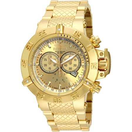 0886678151592 - INVICTA MEN'S 14500 SUBAQUA NOMA III CHRONOGRAPH GOLD DIAL 18K GOLD ION-PLATED STAINLESS STEEL WATCH