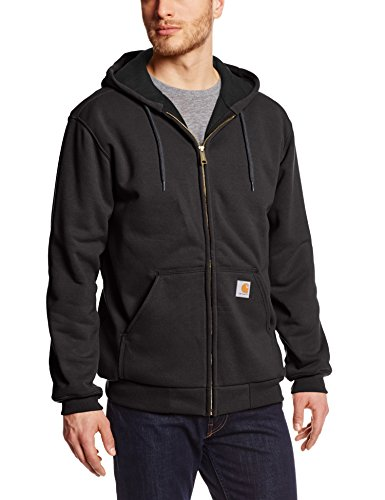 0886859293417 - CARHARTT MEN'S RAIN DEFENDER RUTLAND THERMAL LINED HOODED ZIP FRONT SWEATSHIRT 100632,BLACK,LARGE