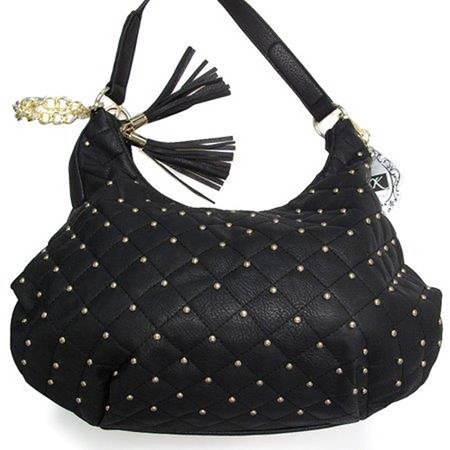 0888125225214 - YOKI QUILTED HOBO WITH MICRO STUD AND TASSEL IN BLACK - YK1034-CM