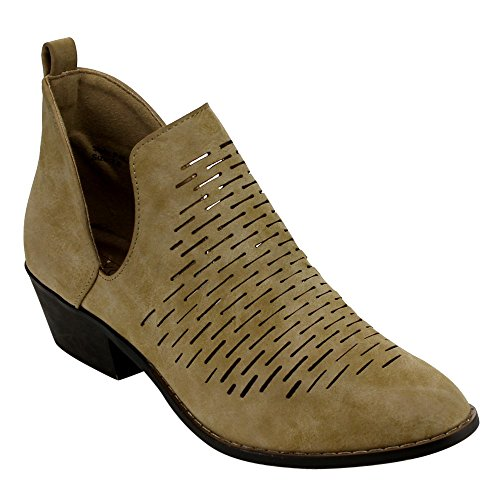 0888125555274 - YOKI EC80 WOMEN'S SIDE SLIT LASER CUT OUT STACKED ANKLE BOOTIES, COLOR:BEIGE, SIZE:9