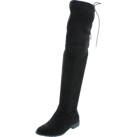 0888125585622 - YOKI ED22 WOMEN'S DRAWSTRING SIDE ZIPPER LOW HEEL THIGH HIGH BOOTS, COLOR:BLACK, SIZE:6.5