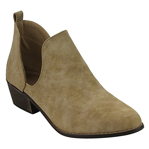 0888125594259 - YOKI ED25 WOMEN'S SIDE SLIT CHUNKY ANKLE BOOTIES, COLOR:BEIGE, SIZE:10