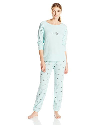 0888172248686 - HUE SLEEPWEAR WOMEN'S THERMAL KNIT PAJAMA SETS, RAMBLING SHEEP, LARGE