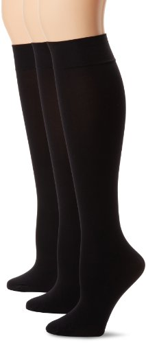 0888172325141 - HUE WOMEN'S 3-PACK SOFT OPAQUE KNEE HIGH SOCKS,BLACK,SIZE 2 (EXTENDED SIZE)