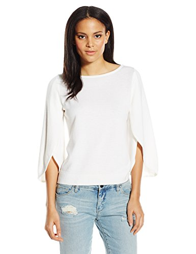 0888246562601 - MILLY WOMEN'S BUTTERFLY SLEEVE SWEATER, WHITE, LARGE