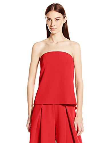 0888246702151 - MILLY WOMEN'S ITALIAN CADY STRAPLESS CASCADE TOP, FLAME, 6