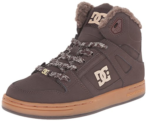 0888327318455 - DC REBOUND WANT YOUTH SHOES SHERPA LINED HI TOP SHOE (LITTLE KID/BIG KID), BROWN/GUM, 1 M US LITTLE KID
