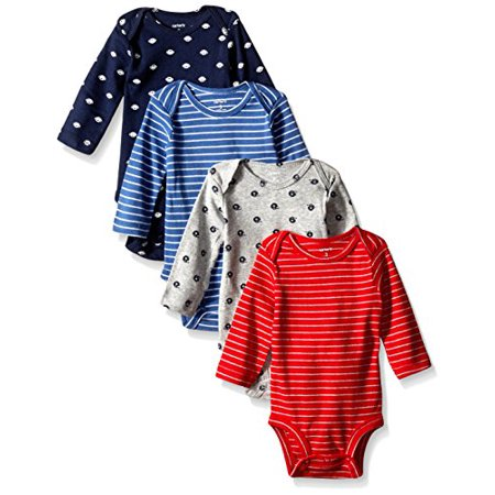 0888510754138 - CARTER'S BABY BOYS' 4 PACK SPORT BODYSUITS (BABY) - NAVY - 18M
