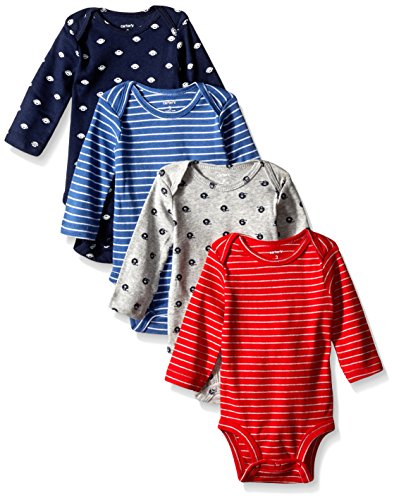0888510754152 - CARTER'S BABY BOYS' 4 PACK SPORT BODYSUITS (BABY) - NAVY - 3M