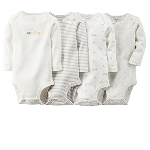 0888510754565 - CARTER'S UNISEX BABY 4 PACK BODYSUITS (BABY) - IVORY - 12M