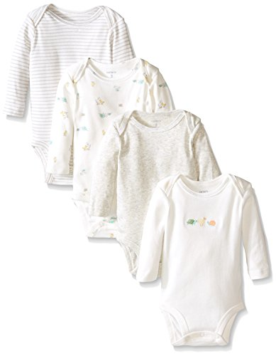 0888510754602 - CARTER'S UNISEX BABY 4 PACK BODYSUITS (BABY) - IVORY - 6M