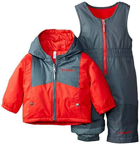 0888664137108 - COLUMBIA BABY-BOYS INFANT DOUBLE FLAKE SET, BRIGHT RED/GRAPHITE, 18-24 MONTHS