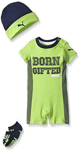 0888822551135 - PUMA BABY-BOYS 3 PIECE ROMPER HAT AND SOCKS SET, ACTIVE GREEN, 3/6M
