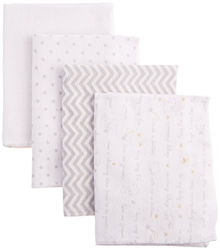 0889320660879 - NUBY 100% COTTON 4 PIECE CUDDLY SOFT BABY RECEIVING BLANKET SET, WHITE, 28 X 28