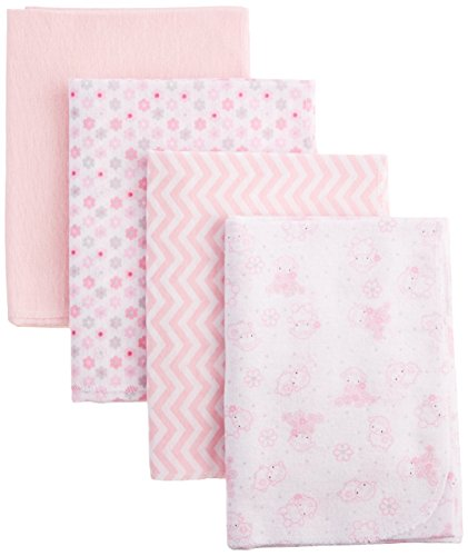 0889320660886 - NUBY 100% COTTON 4 PIECE CUDDLY SOFT BABY RECEIVING BLANKET SET, PINK, 28 X 28