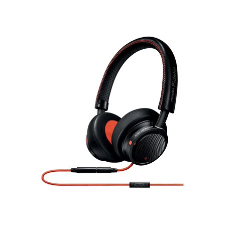 0889446000825 - PHILIPS M1MKIIBO/27 FIDELIO M1 MKII PREMIUM HEADPHONES WITH IN-LINE CONTROL AND MIC SWITCH BETWEEN MUSIC AND CALLS AND STITCHED FINE LEATHER, BLACK/ORANGE