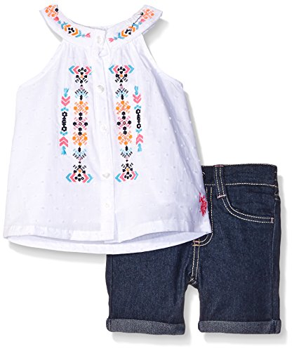 0889593039679 - U.S. POLO ASSN. BABY 2 PIECE BUTTON FRONT A-LINE TANK TOP AND BERMUDA, WHITE, 12 MONTHS