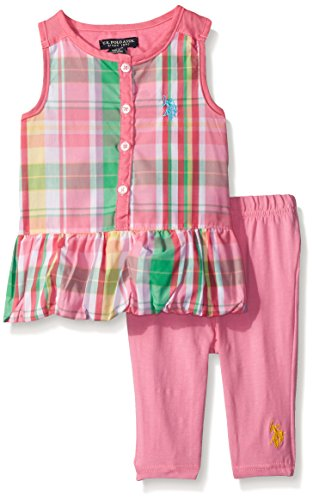 0889593045687 - U.S. POLO ASSN. BABY TWO PIECE CAPRI LEGGING AND BABY DOLL TIERED RUFFLE TOP, PINK, 24 MONTHS