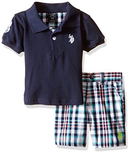 0889593064527 - U.S. POLO ASSN. BABY PIQUE POLO SHIRT AND MATCHING PLAID SHORT SET, NAVY, 12 MONTHS