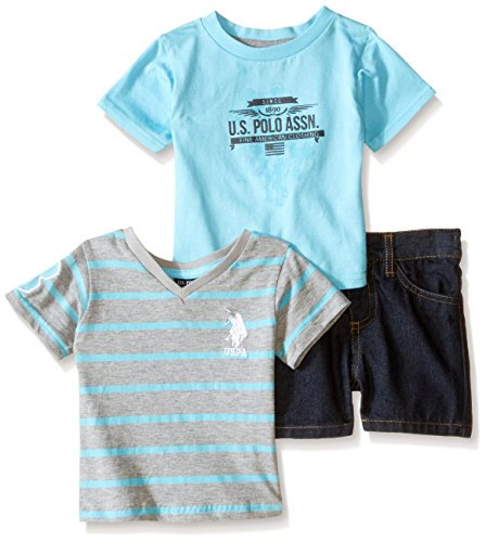 0889593097358 - U.S. POLO ASSN. BABY 3 PIECE SET, TWO T-SHIRTS AND SHORT, GAMMA BLUE, 12 MONTHS