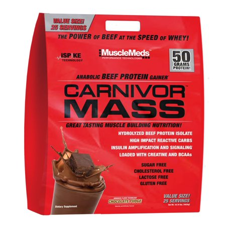 0891597003679 - MUSCLEMEDS, CARNIVOR MASS ANABOLIC BEEF PROTEIN GAINER, 10 POUNDS