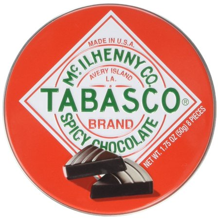 0895557001651 - TABASCO - SPICY DARK CHOCOLATE WEDGES - ROUND TIN - 50G