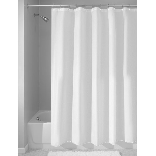0091824617475 - INTERDESIGN MILDEW-FREE WATER-REPELLENT FABRIC SHOWER CURTAIN, 72-INCH BY 72-INCH, WHITE