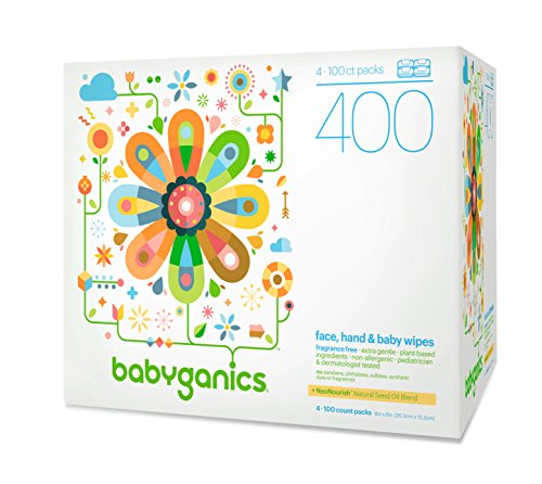9456741920250 - BABYGANICS FACE, HAND & BABY WIPES, FRAGRANCE FREE, 400 COUNT (CONTAINS FOUR 100-COUNT PACKS)