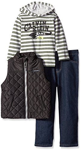 0096413353024 - CALVIN KLEIN BABY BOYS' BLACK PUFFY VEST WITH TEE AND PANTS, BLACK, 12 MONTHS
