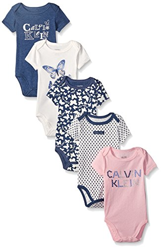 0096413930874 - CALVIN KLEIN BABY-GIRLS 5 PACK BODYSUIT PRINTED AND SOLID, NAVY, 6-9 MONTHS