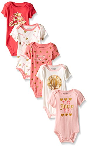 0096413931291 - JUICY COUTURE BABY 5 PACK BODYSUIT, PINK/VANILLA, 3-6 MONTHS