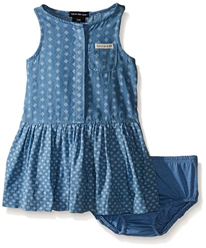 0096413979583 - CALVIN KLEIN BABY-GIRLS DISCHARGE PRINTED DENIM SLEEVELESS DRESS, BLUE, 24 MONTH