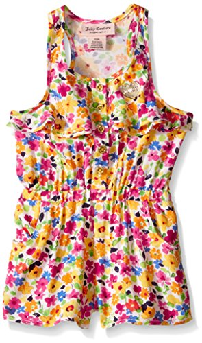 0096413982118 - JUICY COUTURE BABY PRINTED RAYON CHALLIS ROMPER, YELLOW/PINK, 24 MONTHS