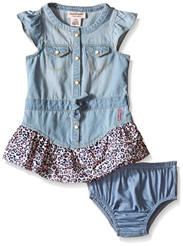 0096413982149 - JUICY COUTURE BABY DENIM WITH PRINTED COTTON POPLIN DRESS, BLUE, 24 MONTHS
