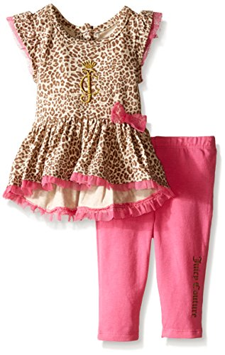 0096413984389 - JUICY COUTURE BABY ANIMAL PRINTED INTERLOCK TUNIC AND JERSEY LEGGINGS, PINK, 24 MONTHS
