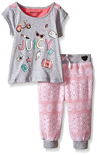 0096413990281 - JUICY COUTURE GIRLS' HEATHER COTTON JERSEY TOP WITH LACE AND LACE/LINED PANTS, GRAY, 24 MONTHS
