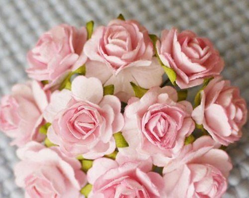 9789745491403 - 100 PCS HIGHT QUALITY PINK COLOR #002 MULBERRY PAPER FLOWERS OF WEDDING ROSES : 20MM.